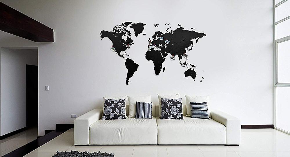 3D Wooden World Map 6