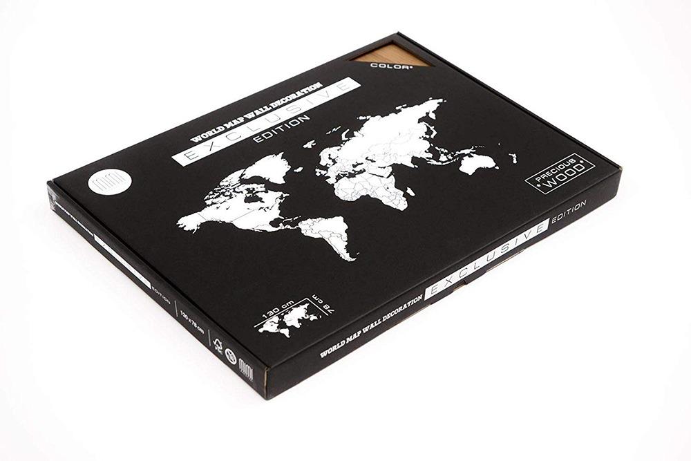 3D Wooden World Map 8