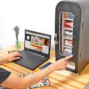 Personal Mini Soda Vending Machine On Desk