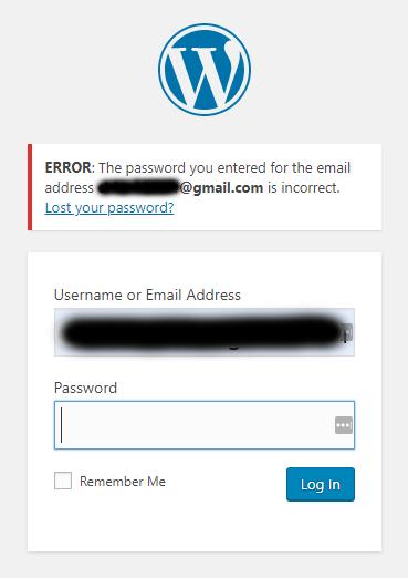 WordPress Login Error Message